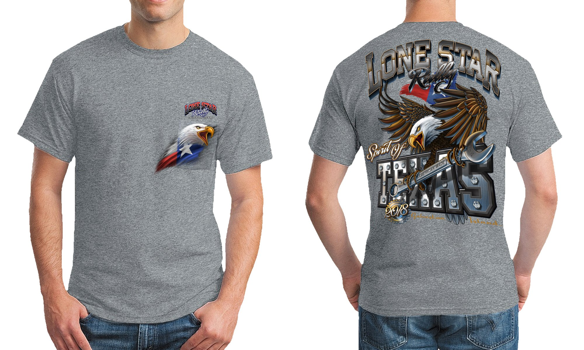 Spirit Of Texas S S Pocket Tee Heather Grey Lone Star